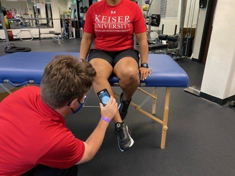 seated active hip external rotation measurement with smartphone