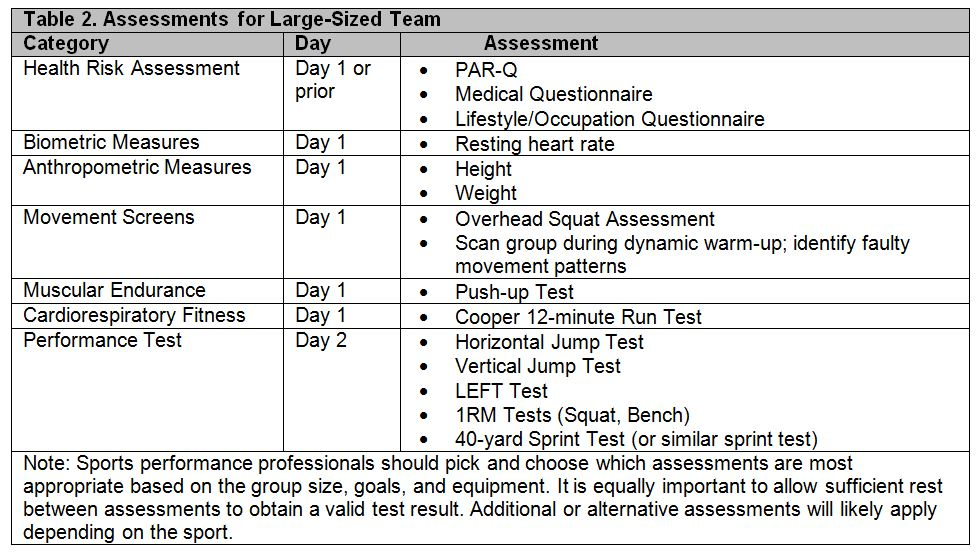 assessments for large sized team chart