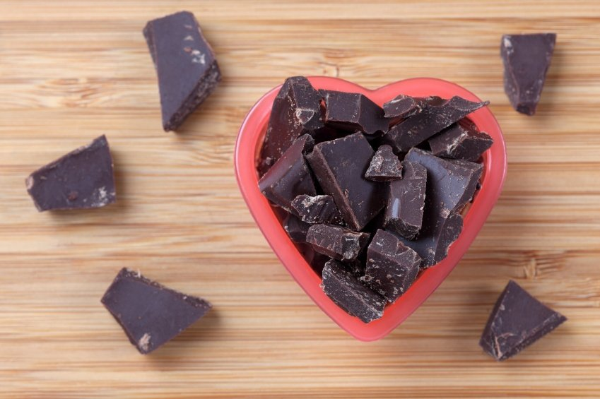 Pieces of dark chocolate in a heart bowl