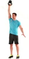 man doing a press with a kettlebell