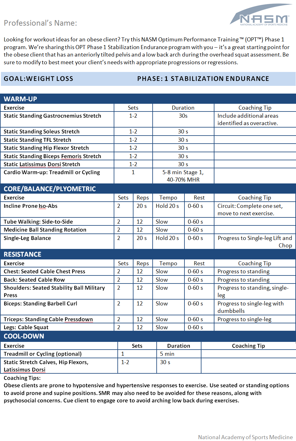 obese client chart with workout ideas
