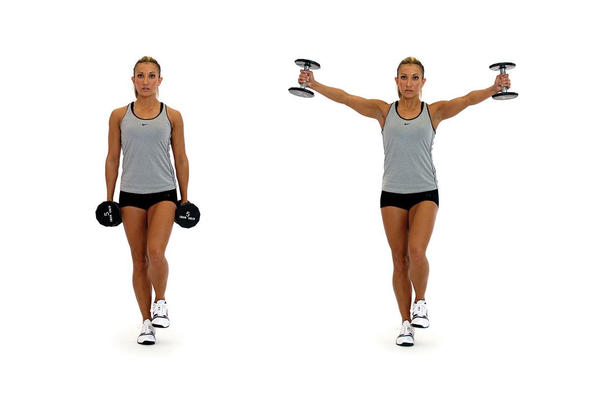 Single-leg dumbbell scaption