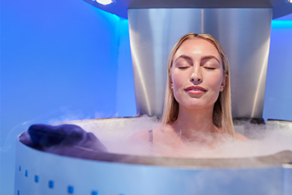 woman doing cryotherapy for recovery