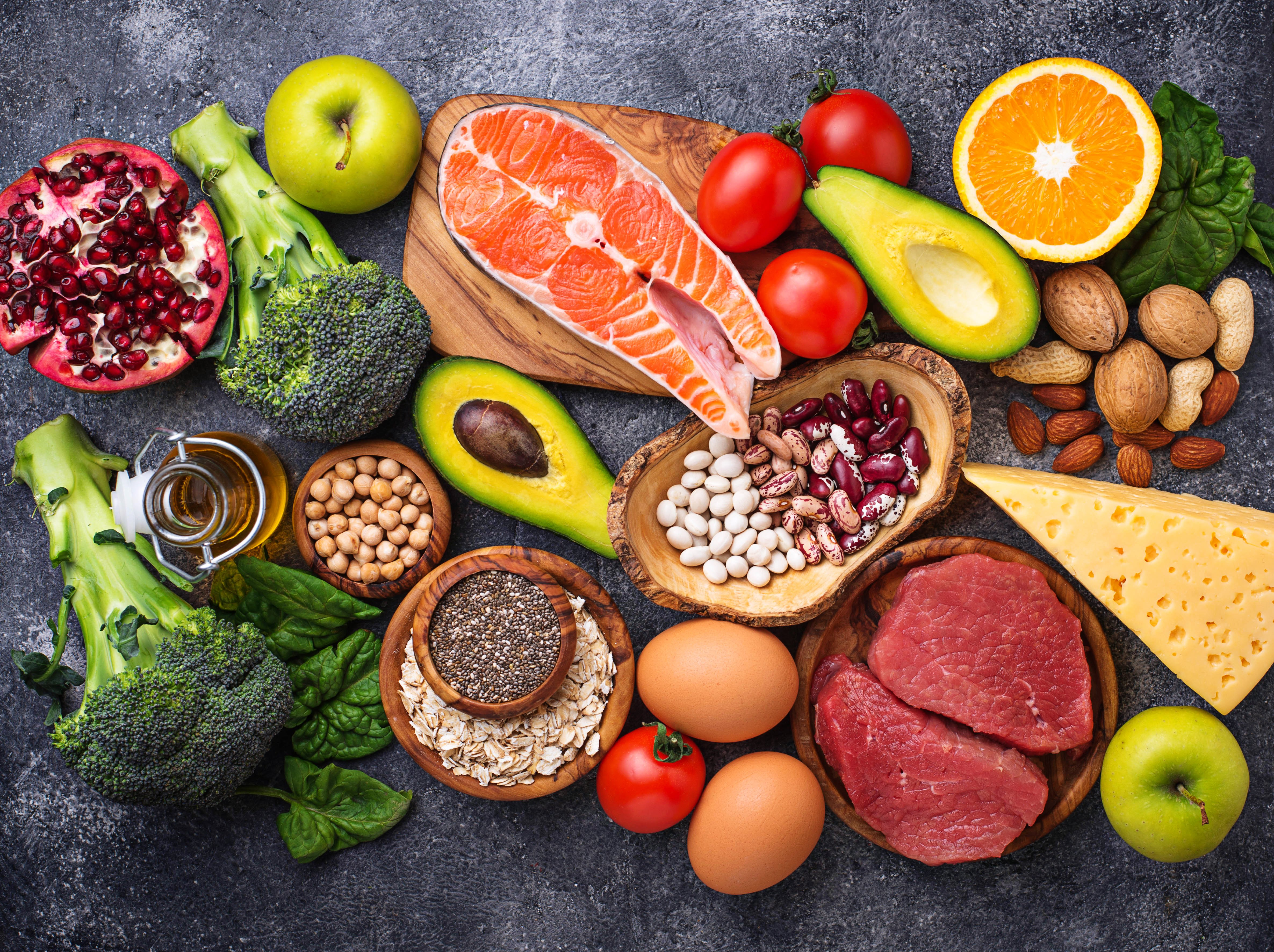 assortment of fruits and healthy foods