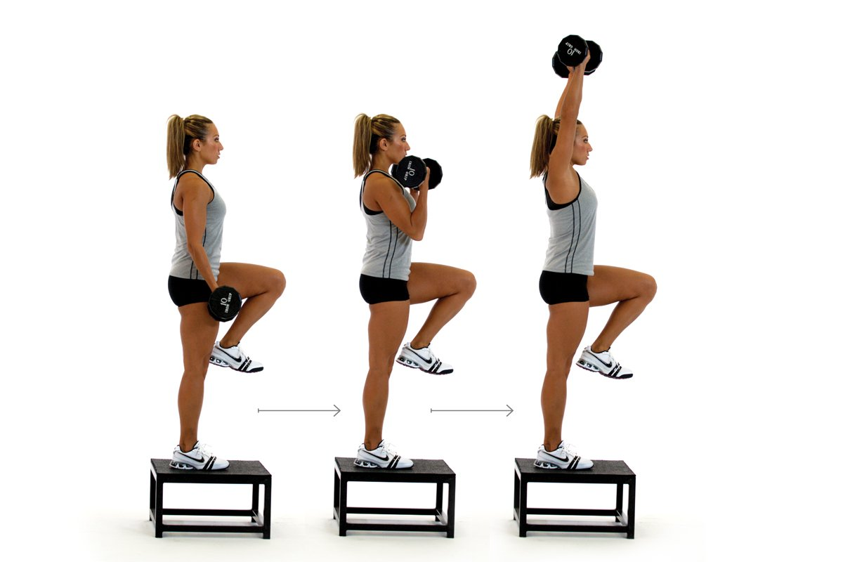 Step-up to Balance, Curl and Overhead Press