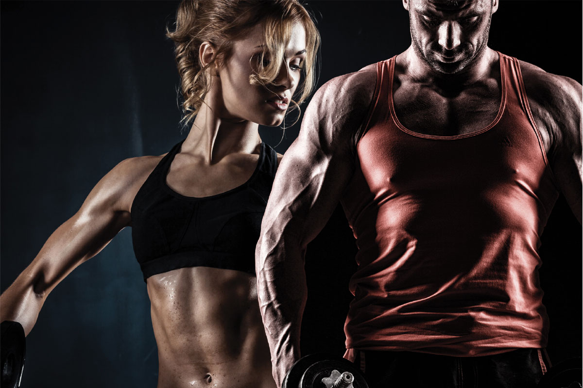 two bodybuilders
