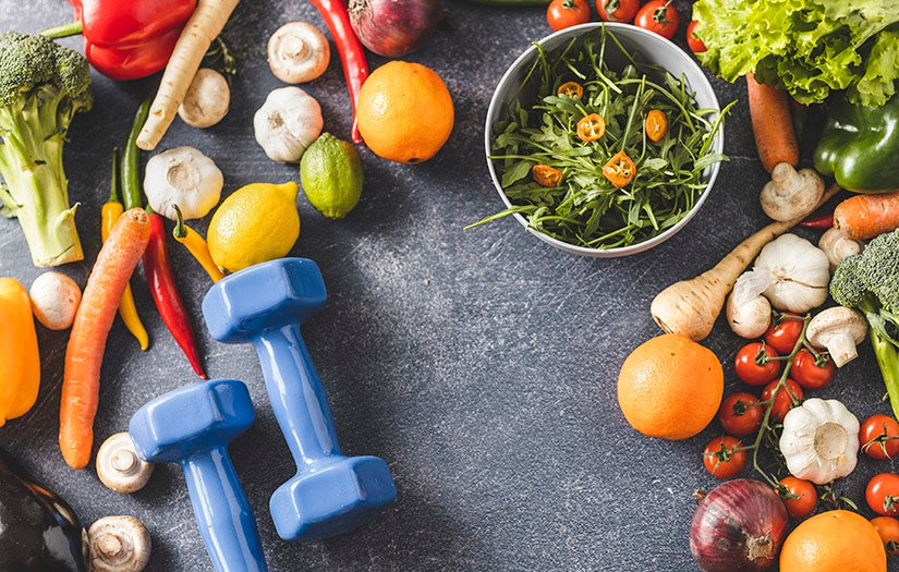 weights and nutritious food