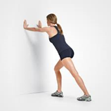 Woman doing a standing calf stretch