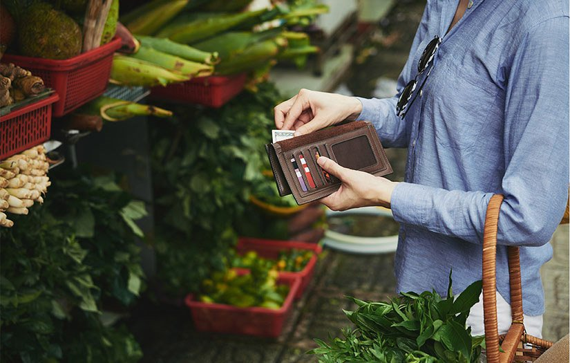 ladying paying for healthy groceries with credit card