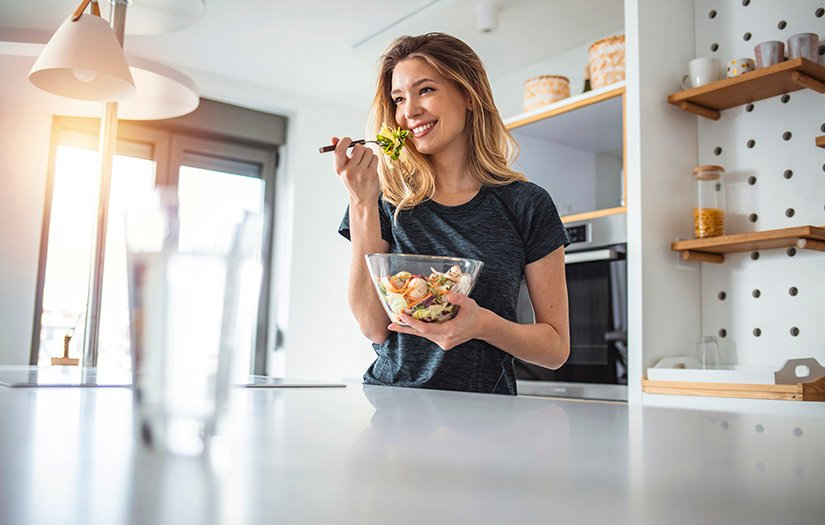 woman eating a health