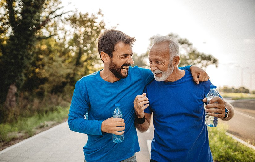 a wellness coach walking with their client